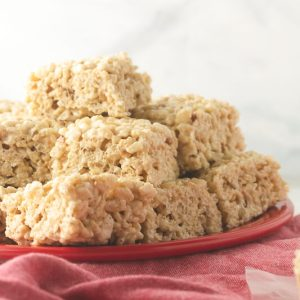 a photograph of a plate of salted brown butter Rice Krispies treats