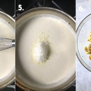 A photograph showing steps 4-6 of making baked creamy tortellini