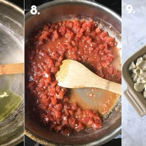a photograph showing steps 7-9 of making baked creamy tortellini