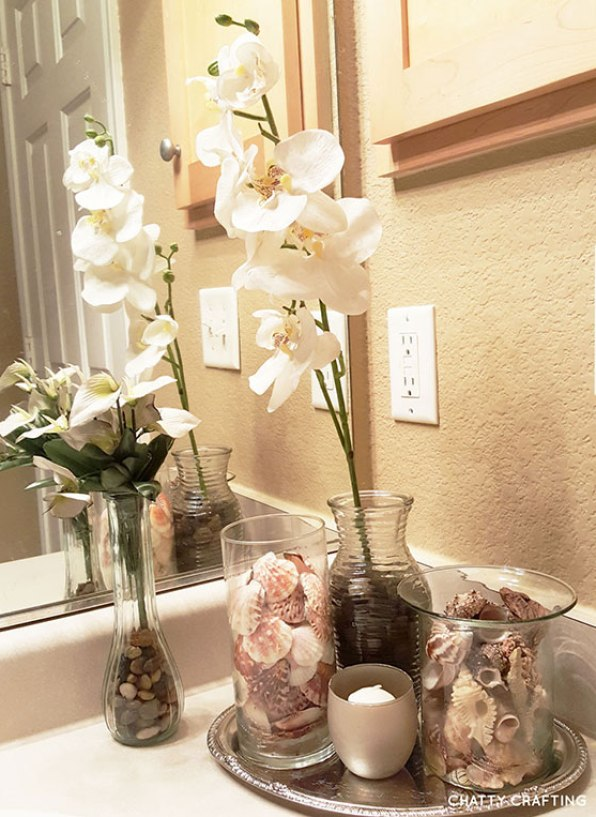 Spa bathroom on a budget updated 2017 chatty crafting for Bathroom decor vases