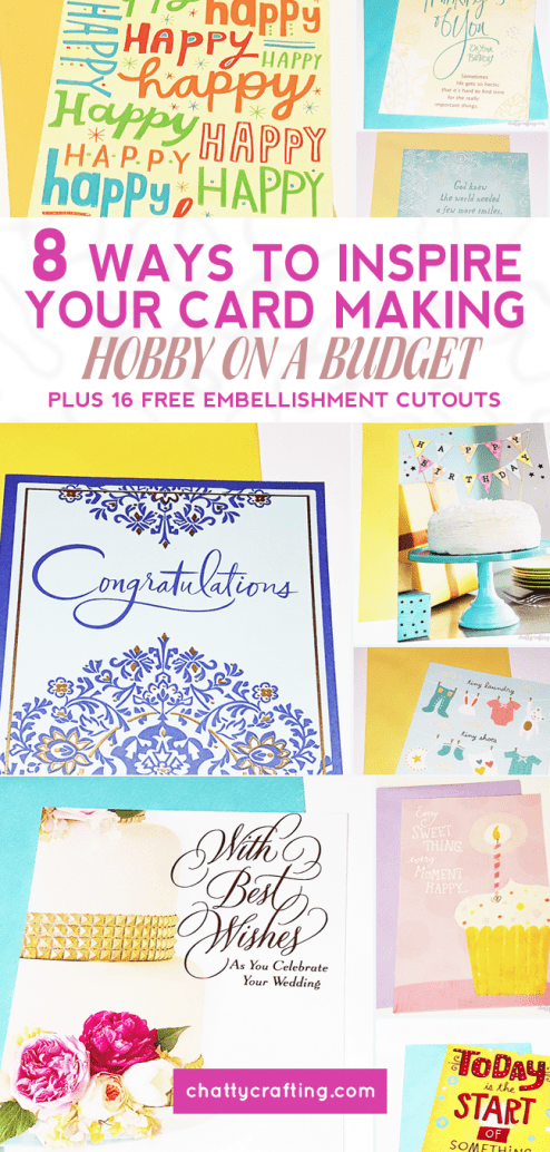 8 Ways To Inspire Your Card Making Hobby On A Budget | Plus 16 Free Printable Embellishment Cutouts | Hey y'all! I've got card making on my mind, and a FREE printable pastel set of 16 embellishments bundle ( with SUPER easy instructions) just for you! Perfect for card making and scrapbooking projects! This hobby is so special, because the card you make can be the gift itself...grab your freebie here... | Lauren @ chattycrafting.com