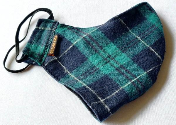 Winter Mask Green Black Check 2 https://chaturango.com/winter-face-mask-white-flannel-green-black-checks/