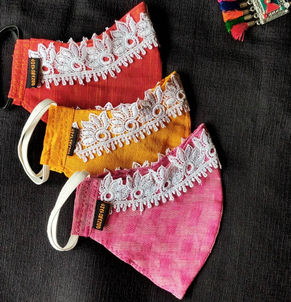 Cotton Mask Lace Red 4 https://chaturango.com/cotton-face-mask-for-women-lace-red/
