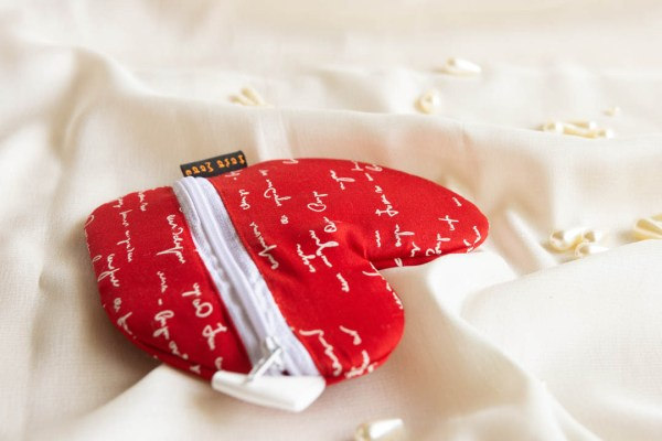 Pouch Heart Shaped Red White Text 3 https://chaturango.com/heart-pouch-red-with-white-text/