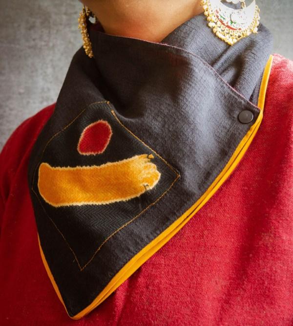 Winter Neck Warmer Black Mustard Yellow Border 2 https://chaturango.com/winter-wear-for-women-neck-warmer-black-yellow/