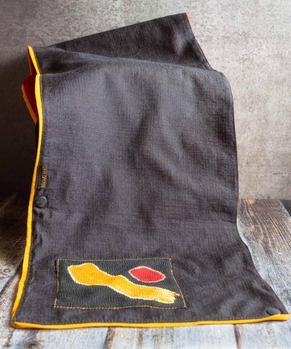 Winter Neck Warmer Black Mustard Yellow Border 3 https://chaturango.com/winter-wear-for-women-neck-warmer-black-yellow/