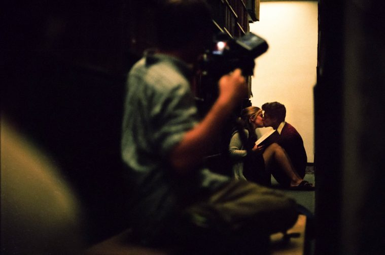Alec and Holly, the leads, performing a scene in a library. pc Charlie Theobald