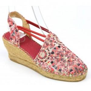 espadrilles-compensees-femmes-petites-pointures-soie-sauvage-pailletees-rouges-nayeli, sandales solde petite pointure,solde été