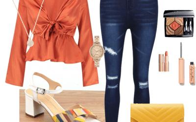 Une tenue sport élégant dans les orange et jaune
