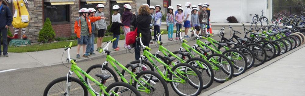 Bike safety training at the Children's Safety Village