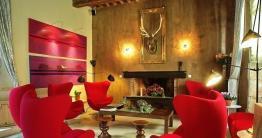 Mur cheminée chaux café chaux room