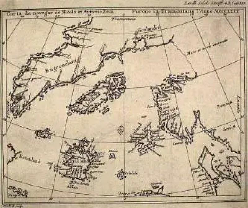 O mapa de Zeno mostrando Frisland (canto inferior esquerdo)