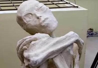 Especialistas descobriram os restos do que parece ser um corpo mumificado de um ser humanoide com um crânio extremamente alongado e mãos com apenas três dedos.