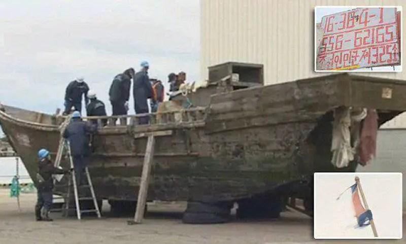 Quatro navios de madeira vazios apareceram no mar do Japão