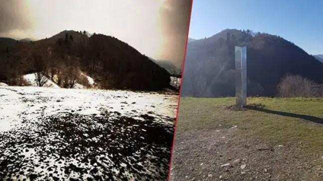 À direita, o monolito cravado numa montanha da Romênia. À esquerda, o mesmo local já sem o monolito.