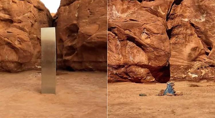 O misterioso monólito de Utah desapareceu e em seu lugar colocam pedras e uma mensagem