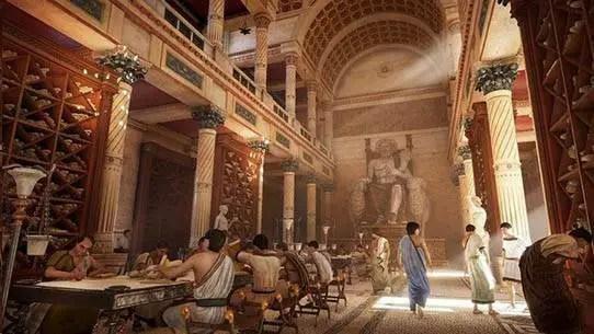 Representação da Biblioteca de Alexandria.