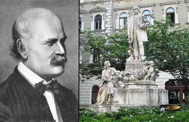 À esquerda: O retrato de Ignaz Semmelweis. À direita: A estátua dele em Budapeste, Hungria.