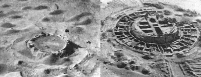 Esquerda: Antiga fortaleza Koy-Krylgan-kala no Uzbequistão, semelhante a uma cratera de impacto em uma foto aérea. Direita: Quando foi escavado, foi confirmado que se tratava de uma estrutura artificial (1956).