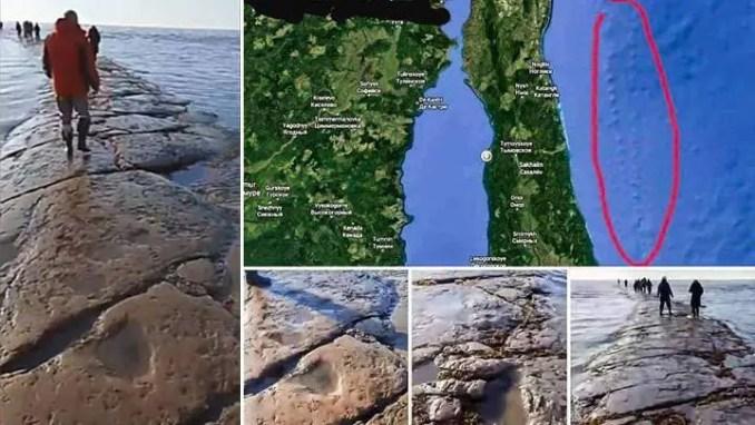 Uma gigantesca estrada de pedra aparece sobe sob o Oceano Pacífico
