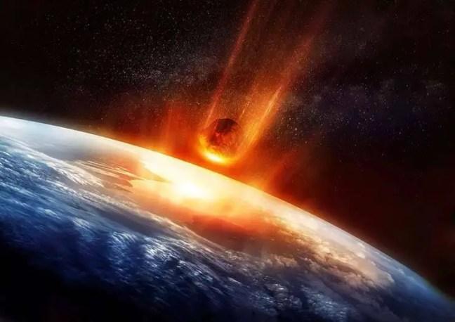 Representação do Cometa 2014 UN271 atingindo a Terra.