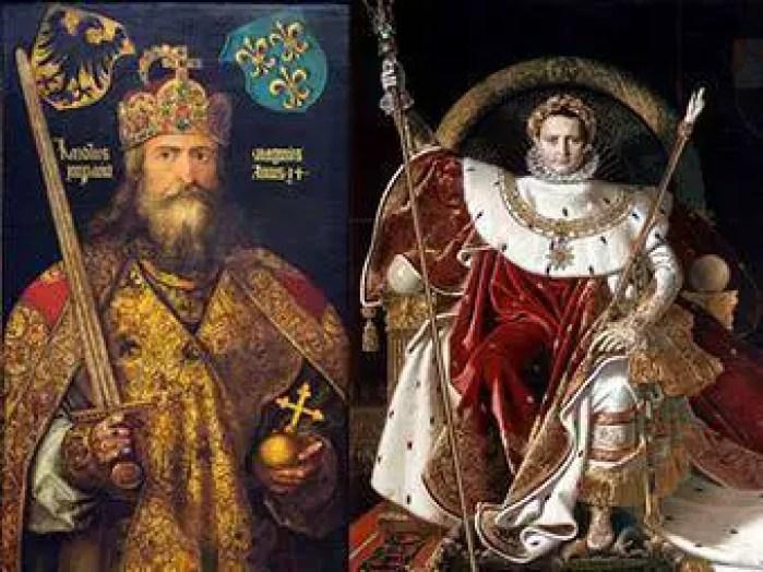 Carlos Magno: Esquerda - Napoleão Bonaparte: Direita