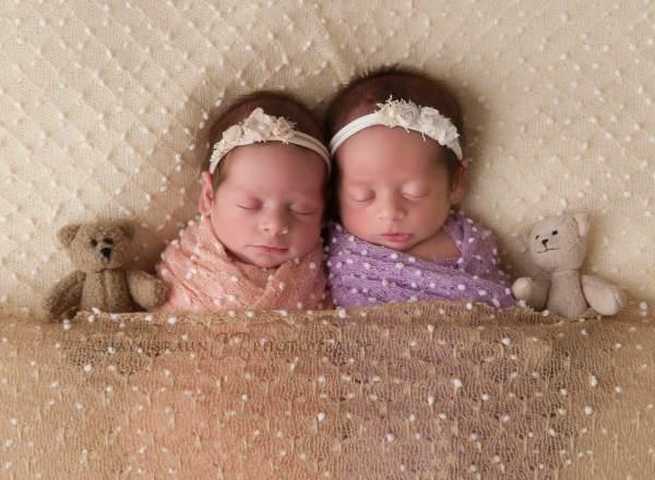 sleeping newborn baby twins