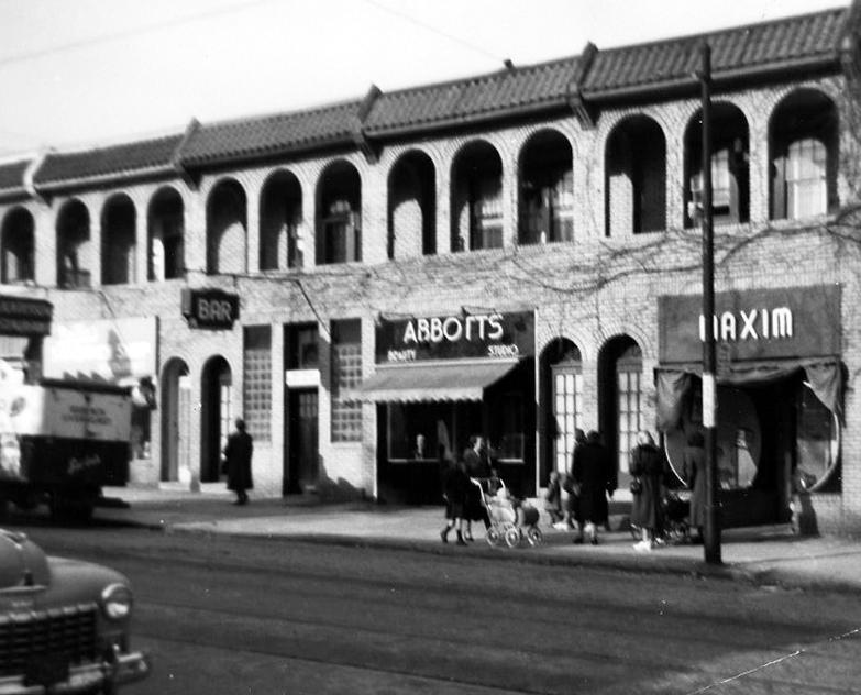 A view of the row of stores in the 8300 block of Germantown Avenue, with 8337-8341 visible. Undated, but perhaps from circa 1945-1950