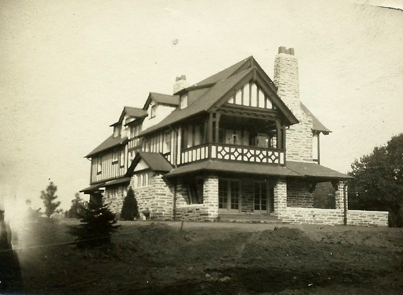 A circa-1910 view of 835 Westview Street, at the northeast corner of its intersection with Wissahickon Avenue. Shown are the back (north) facade and the west facade shortly after the house was completed. Duhring, Okie and Zeigler designed the house for William Marriott Canby.