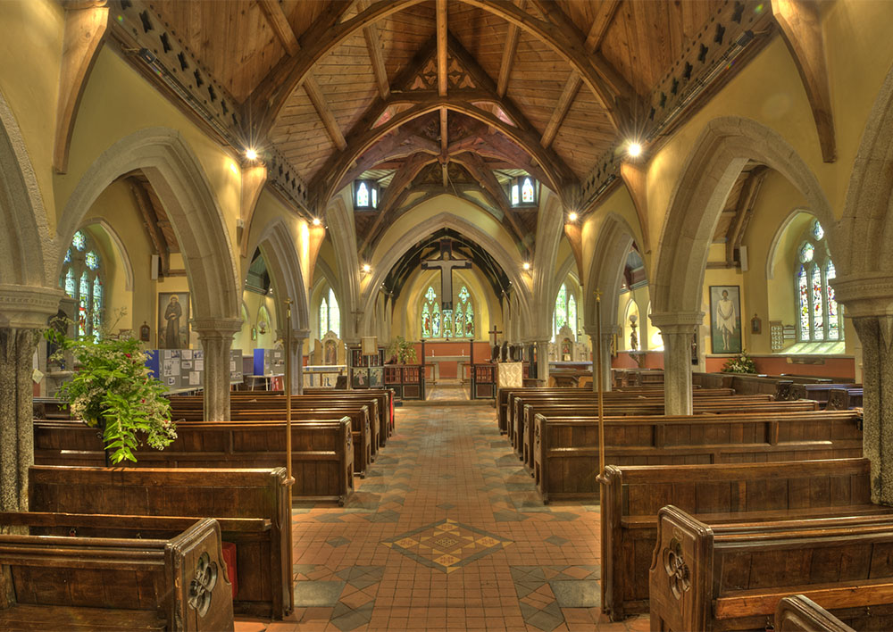 Job: St Hilary Church Caption: Internal view from the West end of the nave.