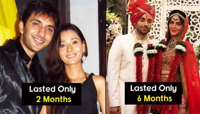 Shorteset marriages in Bollywood and Tele Industry