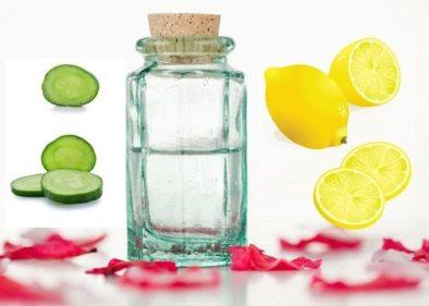 Cucumber, lemon juice and rose water