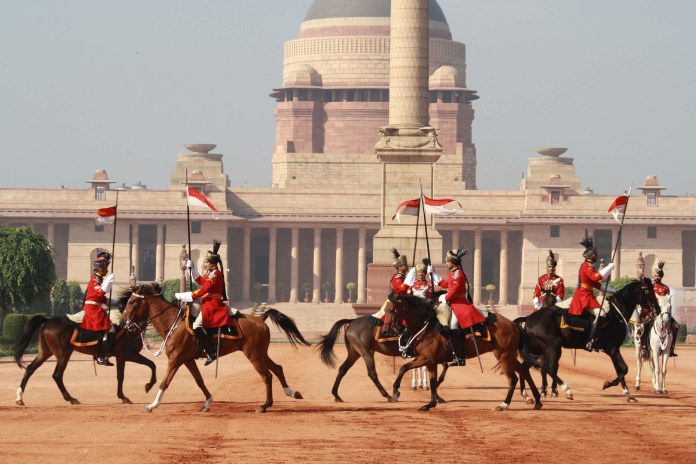 The change of guard ceremony at the forecourt of Rashtrapati Bhawan.