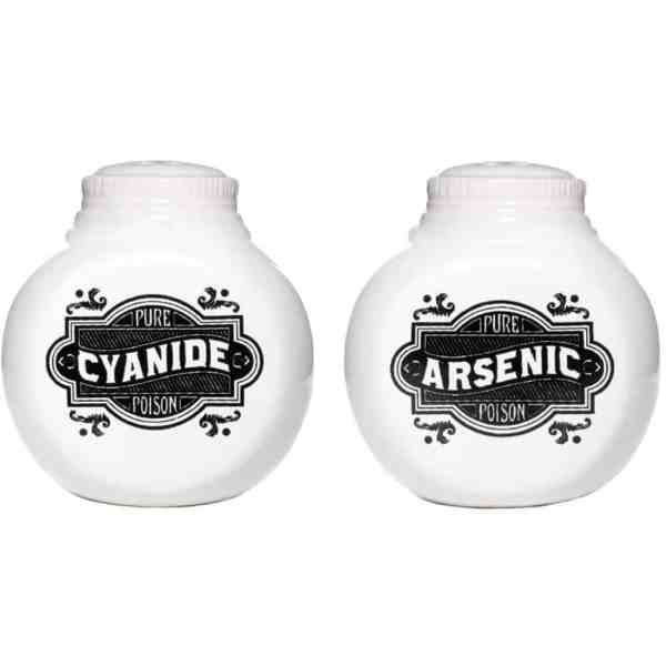 Shake things up with these unique poison salt and pepper shakers. Only YOU will know the difference.