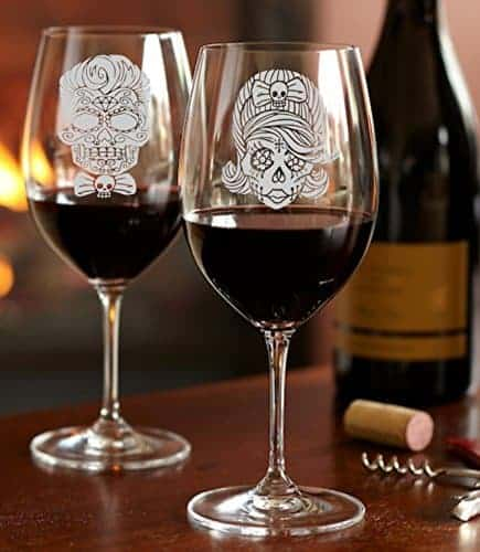 For when you want to drink in style, your goth will love these his and hers wine glasses.