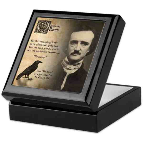 Perfect for trinkets, jewelry, or mementos, your goth will love this Edgar Allen Poe Jewelry Box