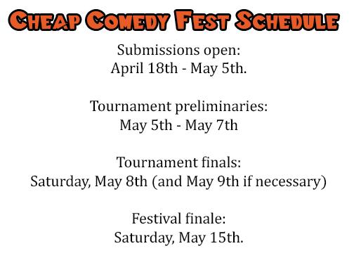 Cheap Comedy Fest Schedule