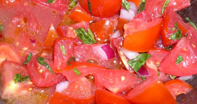 Tomato, Basil, and Onion Salad or Pasta