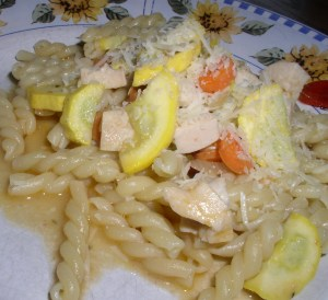 pasta with chicken and yellow squash