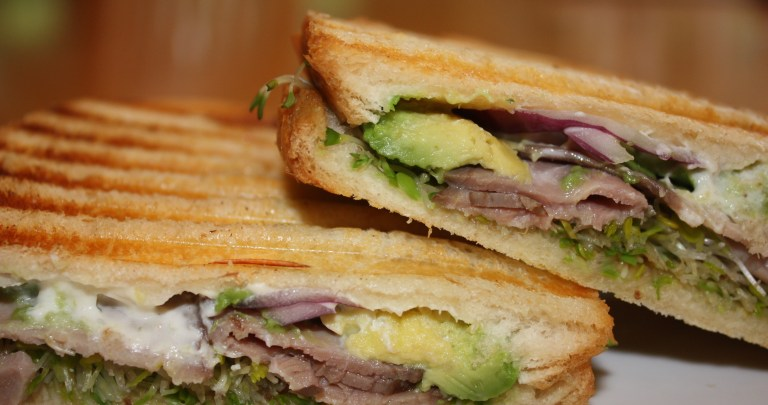 Cooking for One: Panini Sandwich with Roast Beef, Boursin Cheese, Avocado and Sprouts