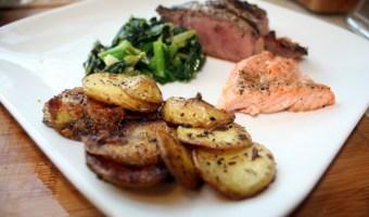 Menu: Steak, Salmon, Potatoes and Rappini
