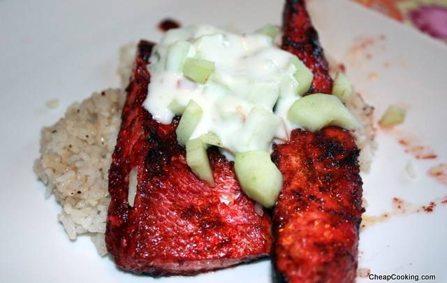 Jamie Oliver's Salmon Tikka with Garlic & Nutmeg Rice