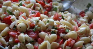 Pasta with Fresh Tomatoes, Onions and Cheese