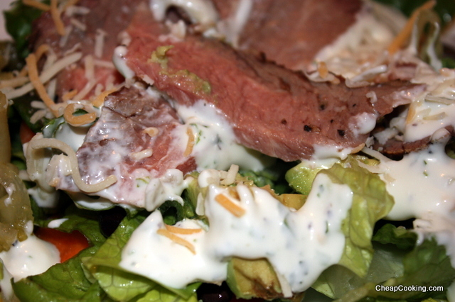 steak salad with homemade buttermilk ranch dressing