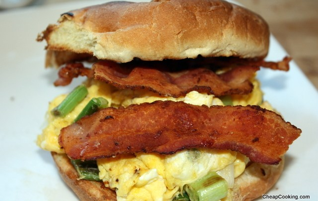 Breakfast Sandwich with Green Onions and Bacon