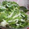 Jicama Salad with Arugula, Romaine and Lime-Cilantro Dressing