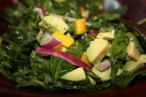 spinach, avocado and mango salad