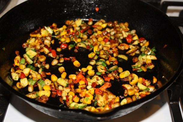 charred zucchini, corn and red pepper