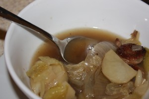 sausage, potato and cabbage soup