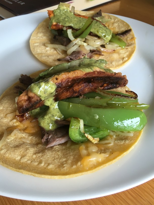 soft tacos with skirt steak, sweet potato and Peruvian green sauce
